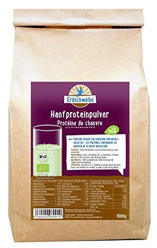 Erdschwalbe Bio Hanfprotein aus der EU / Vegan und glutenfreies Eiweißpulver / 1 Kg (Magnesium Ergänzung In Bio)