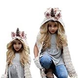 Girls Hoodie Hat Scarf, Bonice Unicorn Tassel Wool Winter Fall Knitted Shawl Hats