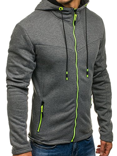 BOLF Kapuzenpullover Sweatshirt Hoodie Kapuze Pullover mit Reißverschluss Mix 1A1 Dunkelgrau_DD75