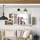 HOMFA Stile Rustico Armadio Farmaci da Muro, Mobiletto in Legno da Parete per Cucina Bagno con Portine Trasparente Smerigliato 50 × 20 × 60cm immagine