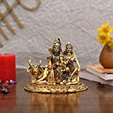 Collectible India Handcrafted Shiva Parvati Ganesh Idol Shiv Parivar Murti Statue Sculpture - Hindu Lord Shiva Idols Family S