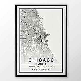 Chicago Aris City Map Print 50x70cm Poster Custom Gift Street Map