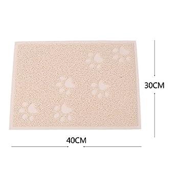 KINGCOO Tapis pour bac à litière pour Chat, Tapis pour bac à litière pour Chat Cat Trapper Tapis pour Chat pour Chien,PVC 30 x 40 CM (Beige)