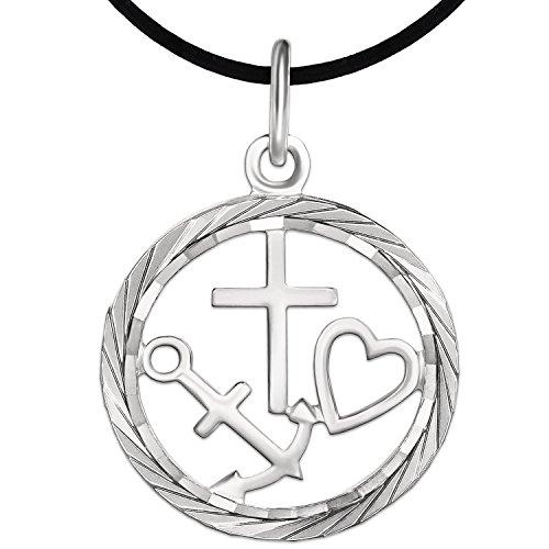 CLEVER SCHMUCK Set Silberner Anhänger als Medaille Ø 19 mm Glaube Liebe Hoffnung innen offen mit Rand glänzend diamantiert STERLING SILBER 925 mit Band