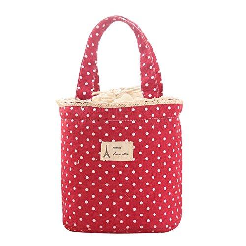 Wanshop ® borsa termica porta-pranzo in tela impermeabile borsa per picnic per portare cibo in viaggio, a scuola, in ufficio, a pranzo in bella tela, per adulti, bambini (rosso)