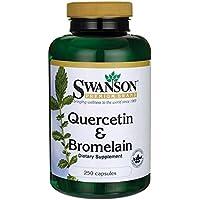 Swanson - Quercétine + Bromélaïne, 250 gélules - Quercetin & Bromelain capsules - Broméline (2400 GDU/g) issue d'Ananas - Santé Respiratoire - Complément Alimentaire à base de Poudre Bio-Active Pure