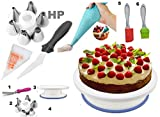 #3: Cake Decoration Tools Set Decorating Turn Full Rotating Round Table with accessories (hpk-India-s5)
