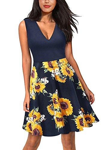 "Ehpow Sommerkleid Damen V-Ausschnitt Ã""rmelloses Kleid Mini Floral Partykleid (Medium, Gelb-Sonnenblume)"