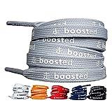 LaceHype Sneaker Schnürsenkel geeignet für Adidas Ultra Boost, NMD und Nike Air Max Sportschuhe BOOSTED Schnürbänder beschriftete Schuhbänder | 1 Paar Premium Sneaker Laces (120 CM, Grau)