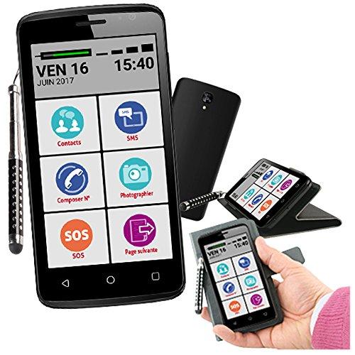 Mobiho-Essentiel le SMART INITIAL 2, le smartphone senior 4,5 pouces pour faire l'essentiel avec un tactile : Photo contacts possible, Android 5.1, Bluetooth, un appareil photo 5 Mpixel au dos et 2 Mp au recto,1.3 ghz quadcore Cortex A7, Li-ion 1700mAh, double SIM. Une touche SOS sur l'écran. Interface senior totalement paramétrable même à distance - 1 h de Guide Accompagnateur Mobiho offert - livré avec stylet extensible - DEBLOQUES TOUS OPERATEURS, toutes cartes SIM