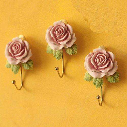 Gazechimp Hakenleiste Klebehaken schoene Rosen Garderobenhaken Handtuchhaken Wand Haken Hakenset Tuerhaken Kleiderhaken