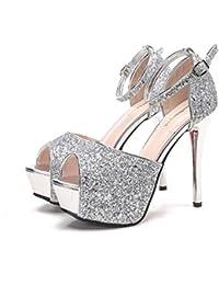 Jqdyl High Heels Wasserdichte Tisch Sandalen Mode Metall Pailletten Fisch Mund Schnalle Sandalen  Silver