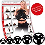 POWRX Olympia Hantelscheiben 2er Set | gummierte Gewichte für Langhanteln | Verschiedene Gewichtsvarianten 2,5-20 kg | Lochdurchmesser 51 mm (2 x 20 kg)