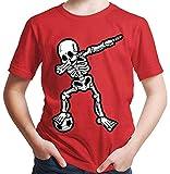 HARIZ  Jungen T-Shirt Dab Skelett mit Fussball Dab Dabbing Dance Halloween Plus Geschenkkarten Rot 164/14-15 Jahre