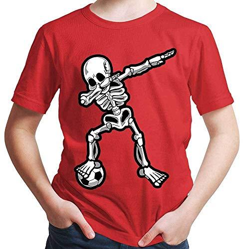 HARIZ  Jungen T-Shirt Dab Skelett mit Fussball Dab Dabbing Dance Halloween Plus Geschenkkarten Rot 128/7-8 Jahre