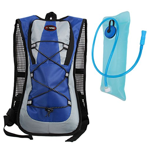 hotspeed Rucksack Tasche Trinksystem mit Trinkblase für Radfahren Wandern Bergsteigen Camping Klettern etc schwarz orange blau rot Bleu 5L