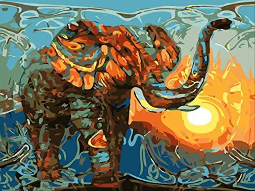 ZO MEBER Elefant Ölgemälde Home Decoration DIY Leinwand Acrylfarbe 40×50cm