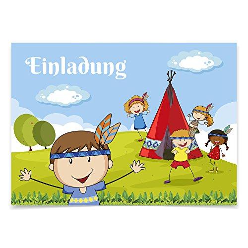 16 Einladungskarten zum Kindergeburtstag - Indianer - für Kinder, Jungen, Mädchen, Feier, Geburtstagseinladungen im Set