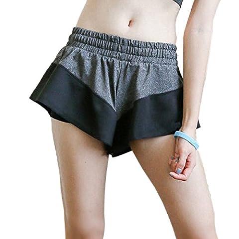 Femmes Été Leggings Fonctionnelle En Vrac Sport Athlétique Exercice Pantalons De Yoga Yoga Pants Fitness Shorts De Sport,Grey-M