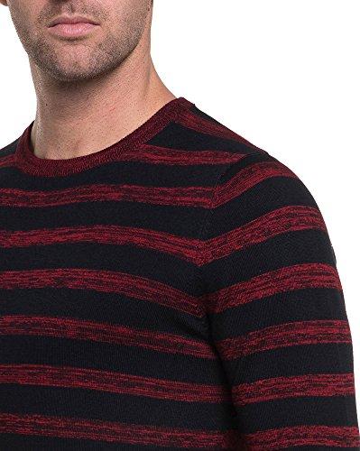 BLZ jeans - feinmaschigen Pullover schwarzen und roten Streifen Rot
