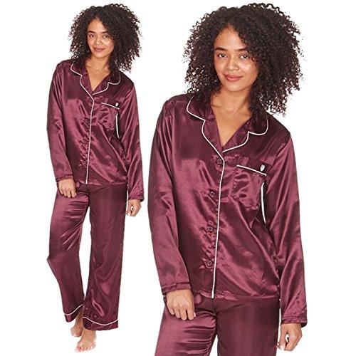 Pour Femmes Satin Silky Chemise Pyjamas Vêtement De Loisirs Vêtements De Nuit Pyjama Présent De Mariage Cadeau Noël Grandes Tailles Bordeaux