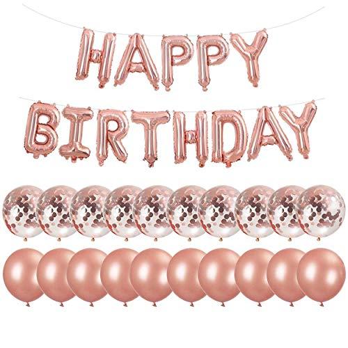 Erosion Rose Gold Happy Birthday Party Dekorationen   Banner Brief Ballons + 10 Stück 18
