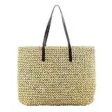 Futurepast Stroh Tasche Sommer Strand Handtasche Handgefertigt Handtasche Lässige Mode Handgewebte Tasche für die Lagerung, Strandtaschen, Geschenke.(Beige)