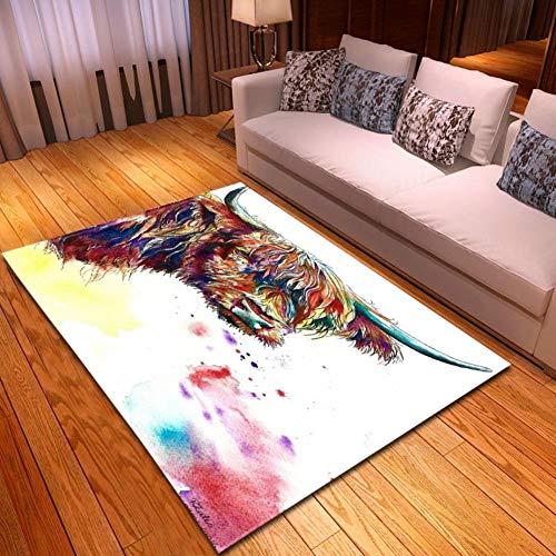 XiaoHeJD Decoración del hogar Alfombra Impresa 3D Lobo Estrellado Salón Dormitorio Sofá atrapasueños Alfombra Cocina Juego de alfombras, D19017-M036,121.9 * 160.0CM