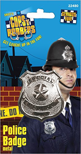 Smiffys, Damen und Herren Silberne Metall Polizei Marke, One Size, 22480