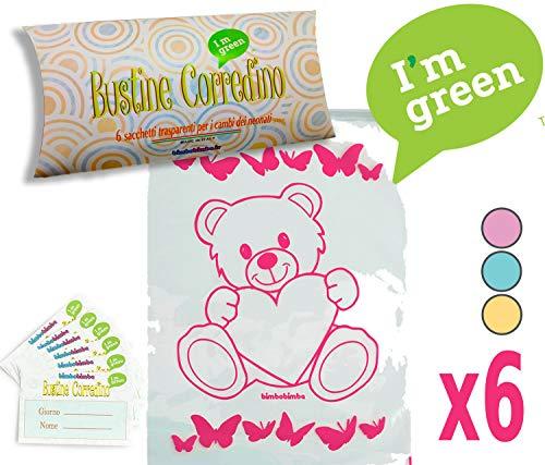 Bustine per il corredino del neonato 6pz sacchetti ospedale bimbobimba trasparento chiusura con cursore (rosa) idea regalo