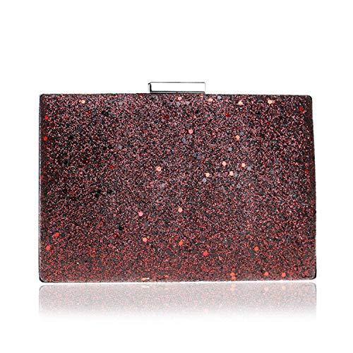 Willsego Pailletten Abendtasche, Damen Sparkly Mode Multi-Color Clutch Handtasche für Hochzeit Cocktail Party Geschenk (Farbe : Rot, Größe : 19x13x5cm(7x5x2inch))