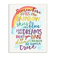 Stupell Decor Somewhere Over the Rainbow With Rainbow Wall Plaque Art