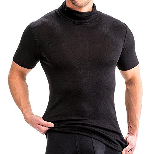 HERMKO 16855 2er Pack Herren Kurzarm Shirt mit Rollkragen, Farbe:schwarz, Größe:D 4 = EU S