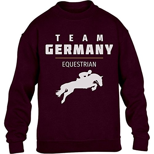 Pferde Springreiten Team Germany - Olympia Fanmotiv Youth Kids Sweatshirt Medium Kastanienbraun (T-shirt Youth Horse)