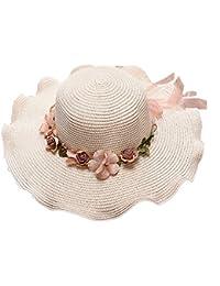 222ea78650882 Staresen Sombrero Playa de Verano Sombrero de Perla Sol Plegable Hueco  Suave ala Ancha Sombrero Visera para Mujeres para Mujer Floppy…