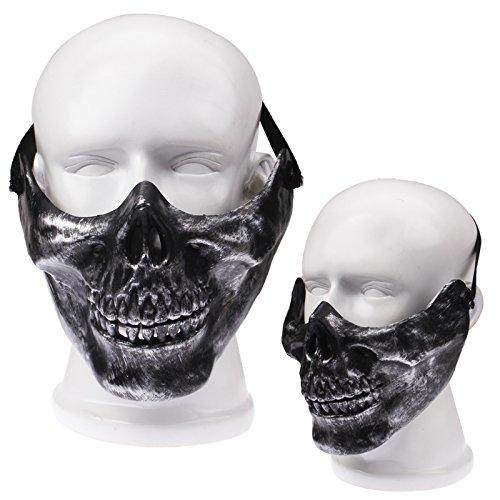 Maske für Halloween / Fasching / Halbmaske Totenkopf, Schädel, Skull in schwarz Silber
