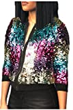 Frauen Im Zip Up Paillettes Kurze Baseball - Jacke Outercoat Pailletten - Sport Multicolors M