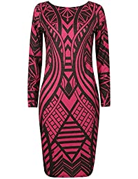 9020f5448d484 Ex Lipsy Pink Tribal Abstract Printed Bodycon Party Dress Size 6 8 10 12 14  16