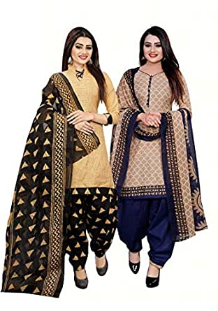 Rajnandini Women's Beige And Beige Cotton Printed Unstitched Dress Material(Combo Of 2)(710-1006_Beige And Beige_Free Size)