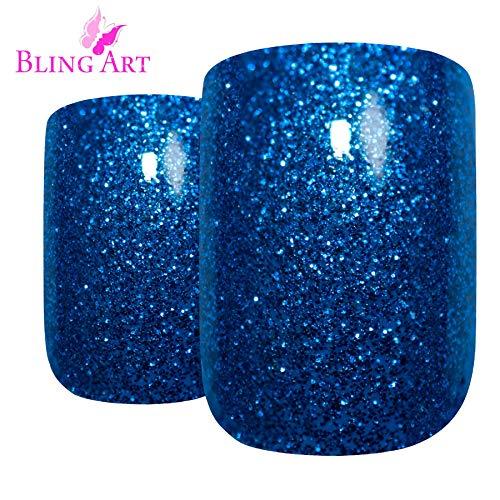Bling Art Falsche Nägel Französisch Maniküre blau Gel -