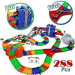 Idea Regalo - TONZE Piste Macchinine Elettriche Pista Flessibile 288 Pezzi con 2 Auto e Ascensore Giocattolo per Bambini di Lunga 5,05 Metri
