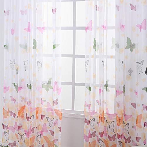 NIBESSER 2er Set Vorhänge Transparent Kräuselband Gardinen Tunnelband Dekoschal Voile Schmetterling Druck für Schlafzimmer Wohnzimmer Schmetterling 100 × 200 cm 2 Stück