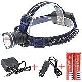 Genwiss CREE XML T6 LED 3000 lúmenes 3 Modo a prueba de agua del foco del zumbido luz delantera LED de la linterna del faro ajustar el enfoque de la batería 2 x 4200mAh deporte al aire libre (Negro)