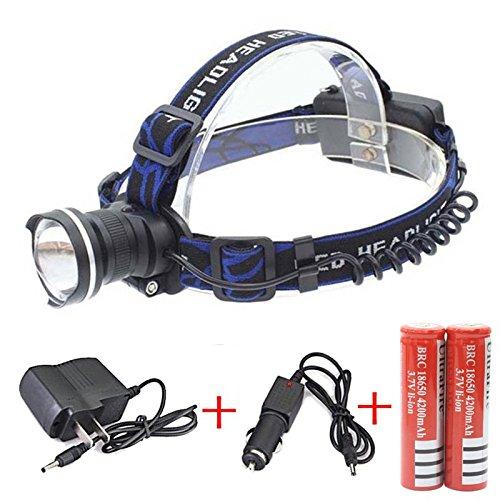 Genwiss 3000 lumen Lampada frontale CREE XML XM-T6 LED 3 Modalità impermeabile del fuoco dello zoom T6 LED lampada da testa della luce anteriore includono 4200mAh della batteria e il caricabatterie Camping Bicicletta Caccia Pesca Equitazione (nero)
