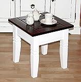 Couchtisch quadratisch Beistelltisch 45x45cm Holz massiv weiß/kolonial