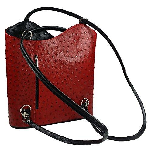 BestLeder, Borsa a spalla donna Rosso rosso Nero Rosso
