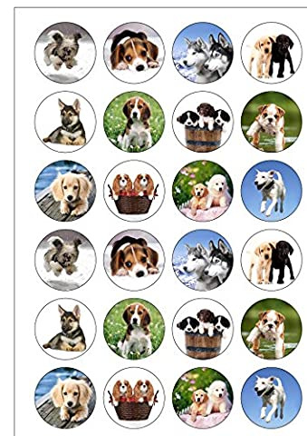24 Precut Cute Dogs and Puppies Edible Wafer Paper Cake Toppers Decorations