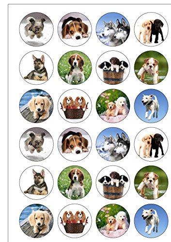 24vorgeschnittenen Süße Hunde und Welpen Essbar Wafer Papier Kuchen Topper Dekorationen (Bild Kuchen)