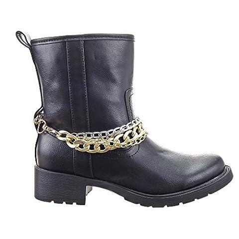 Sopily - Women's Fashion Shoes Ankle boots - Booty - mid-calf - Cavalier - Biker - Chains Heel Block Heel 4 CM - Black CAT-1421 T 39 - UK 6
