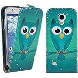 kwmobile Flip Case Hülle für Samsung Galaxy S4 Mini i9190 / i9195 - Kunstleder Schutzhülle Eule Nacht Design Tasche im Flip Cover Style in Blau Türkis